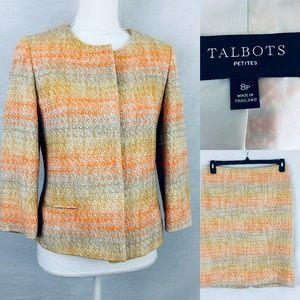 Talbots Orange Tweed Skirt Suit Size 8P Skirt 4